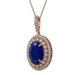 21.69 ctw Sapphire & Diamond Halo Bracelet 10K White Gold