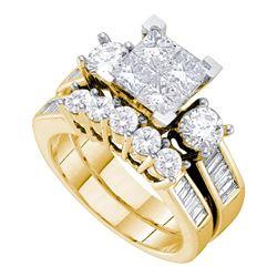 14kt Yellow Gold Round Diamond Bridal Wedding Engagement Ring Band Set 2.00 Cttw