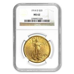 1914-D $20 Saint-Gaudens Gold Double Eagle MS-62 NGC