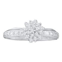 10kt White Gold Diamond Round Bridal Wedding Engagement Ring Band Set 1/3 Cttw