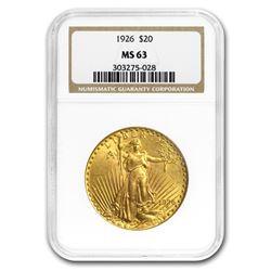 1926 $20 Saint-Gaudens Gold Double Eagle MS-63 NGC