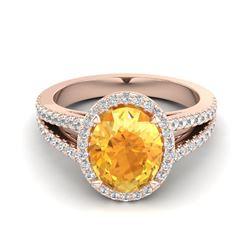 2 ctw Emerald & Halo VS/SI Diamond Ring 18K Yellow Gold