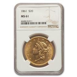 1861 $20 Liberty Gold Double Eagle MS-61 NGC