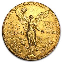 1924 Mexico Gold 50 Pesos AU