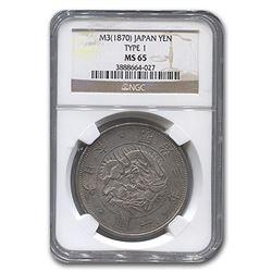 1870 (M3) Japan Silver 1 Yen Meiji Era MS-65 NGC