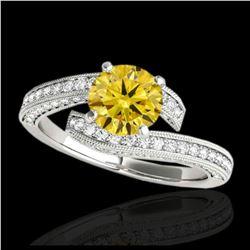 2.05 ctw VS/SI Diamond Solitaire Art Deco 3 Stone Ring 18K White Gold