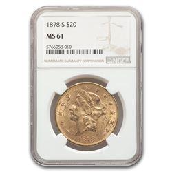 1878-S $20 Liberty Gold Double Eagle MS-61 NGC