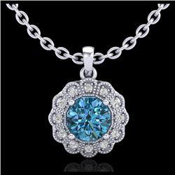 2.11 ctw Intense Blue Diamond Stud Earrings 10K White Gold