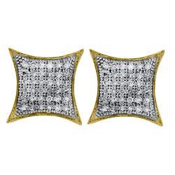 10kt White Gold Round Diamond Flower Cluster Earrings 1/2 Cttw