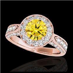 2.25 ctw SI/I Fancy Intense Yellow Diamond Ring 10K Rose Gold