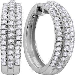 14kt White Gold Round Diamond Cluster Bridal Wedding Engagement Ring 1.00 Cttw