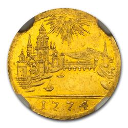 1774 German States Frankfurt Gold Kreuzer MS-62 NGC