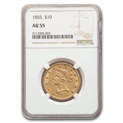 1855 $10 Liberty Gold Eagle AU-55 NGC