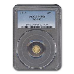 1875 Indian Round 25 cent Gold MS-65 PCGS (BG-847)