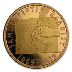 2019 Great Britain £2 Gold Samuel Pepys Diary Entry Proof
