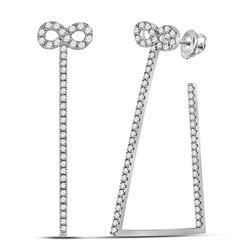14kt White Gold Round Diamond Circle Frame Cluster Earrings 1.00 Cttw