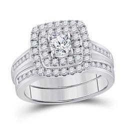 14kt Yellow Gold Princess Diamond Cluster Bridal Wedding Engagement Ring 2.00 Cttw