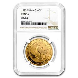 1983 China 1 oz Gold Panda MS-69 NGC
