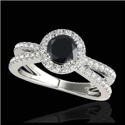1.05 ctw Intense Blue Diamond 3 Stone Ring 18K White Gold