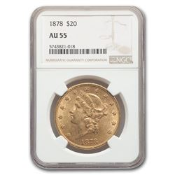 1878 $20 Liberty Gold Double Eagle AU-55 NGC