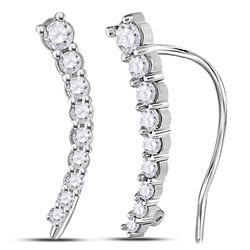 10kt White Gold Round Diamond Large Slender Milgrain Hoop Earrings 1/2 Cttw