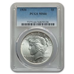 1934 Peace Dollar MS-66 PCGS