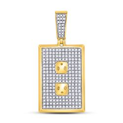 10kt Yellow Gold Round Diamond Square Cluster Earrings 1/4 Cttw