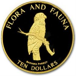 1995 Bahamas Proof Gold 1/2 oz 10 Dollars Bahama Parrot