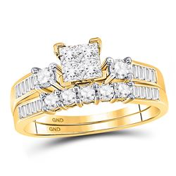 14kt Two-tone Gold Round Diamond Starburst Bridal Wedding Ring Set 3/4 Cttw