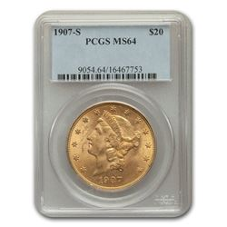 1907-S $20 Liberty Gold Double Eagle MS-64 PCGS