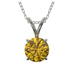 1.15 ctw VS/SI Diamond Solitaire Art Deco Necklace 18K Yellow Gold