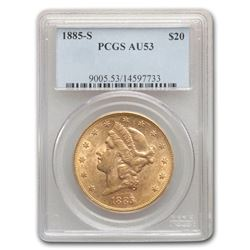 1885-S $20 Liberty Gold Double Eagle AU-53 PCGS