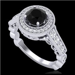 1.51 ctw Fancy Black Diamond Art Deco 3 Stone Ring 18K White Gold
