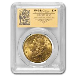 1902-S $20 Liberty Gold Double Eagle BU PCGS (Prospector Label)