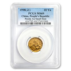 1998 China 1/10 oz Gold Panda Small Date MS-69 PCGS
