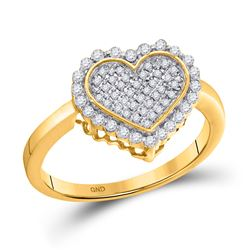 10kt Yellow Gold Mens Round Diamond Arched Rectangle Cluster Ring 1/2 Cttw