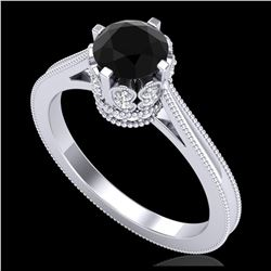 1.36 ctw VS/SI Diamond Solitaire Art Deco Ring 18K Rose Gold
