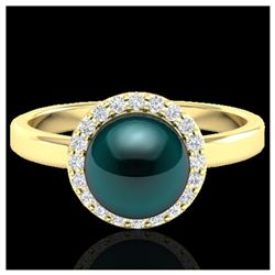 1 ctw SI Fancy Blue Diamond Solitaire Ring 10K Rose Gold