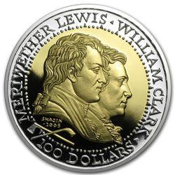 2005 Gold & Silver Bimetal Round - Shawnee Tribe: Lewis and Clark