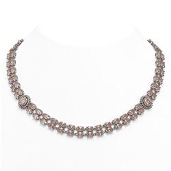 60.62 ctw Morganite & Diamond Necklace 14K White Gold