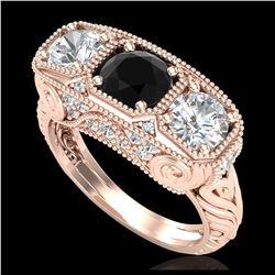 3.75 ctw Garnet & VS/SI Diamond Earrings Halo 14K Rose Gold