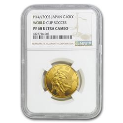 2002/H14 Japan Gold 10\,000 Yen World Cup Soccer PF-68 NGC