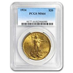 1924 $20 Saint-Gaudens Gold Double Eagle MS-64 PCGS