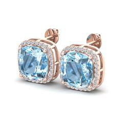 1.16 ctw Sky Blue Topaz & VS/SI Diamond Ring Halo 14K Rose Gold