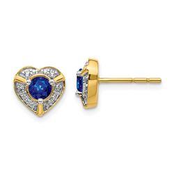 14k Yellow Gold .104ct Diamond & Sapphire Heart Earrings - 8 mm