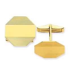 14k Solid Gold Textured Octagonal Cuff Links