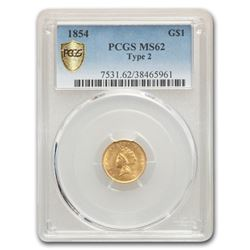 1854 $1 Indian Head Gold MS-62 PCGS