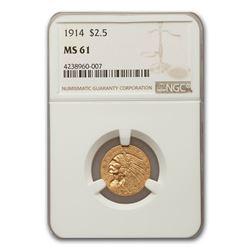 1914 $2.50 Indian Gold Quarter Eagle MS-61 NGC