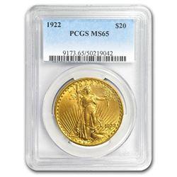 1922 $20 Saint-Gaudens Gold Double Eagle MS-65 PCGS