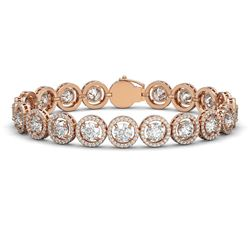 8.2 ctw Garnet & Diamond Halo Earrings Rose 10K Rose Gold